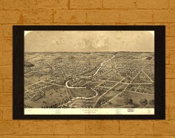 Ypsilanti Map 1869  - Ancient Map Ypsilanti Wall Art Antique Map Poster Home Decor Old Map Prints Michigan Map Wall Art
