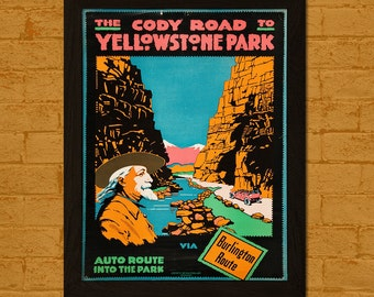 Yellowstone Travel Poster 1916 - Vintage Travel Print Yellowstone Poster Wall Decor Home Decor Retro Travel Poster