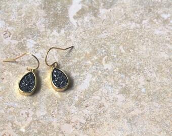 black druzy earrings - gold filled - carolyn