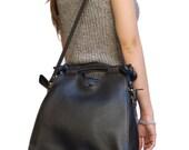 Black leather bag,Leather bags,Woman Bag, Italian leather bag,  Bags and Purse. Shoulder Bag. Leather Handbag. Silla,by Ganza