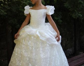 Lace Flower Girls Ivory Dress- Birthday Wedding Party Bridesmaid Flower Ivory Lace Dress