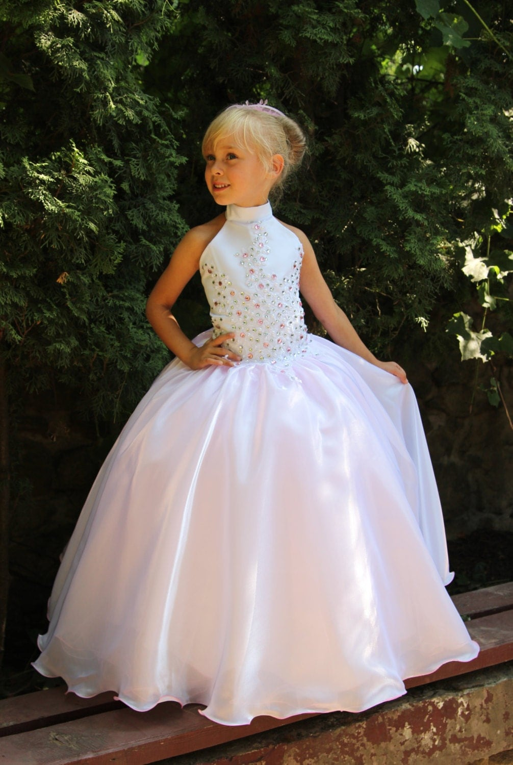 Pink And White Flower Girls Dress Birthday Wedding Party