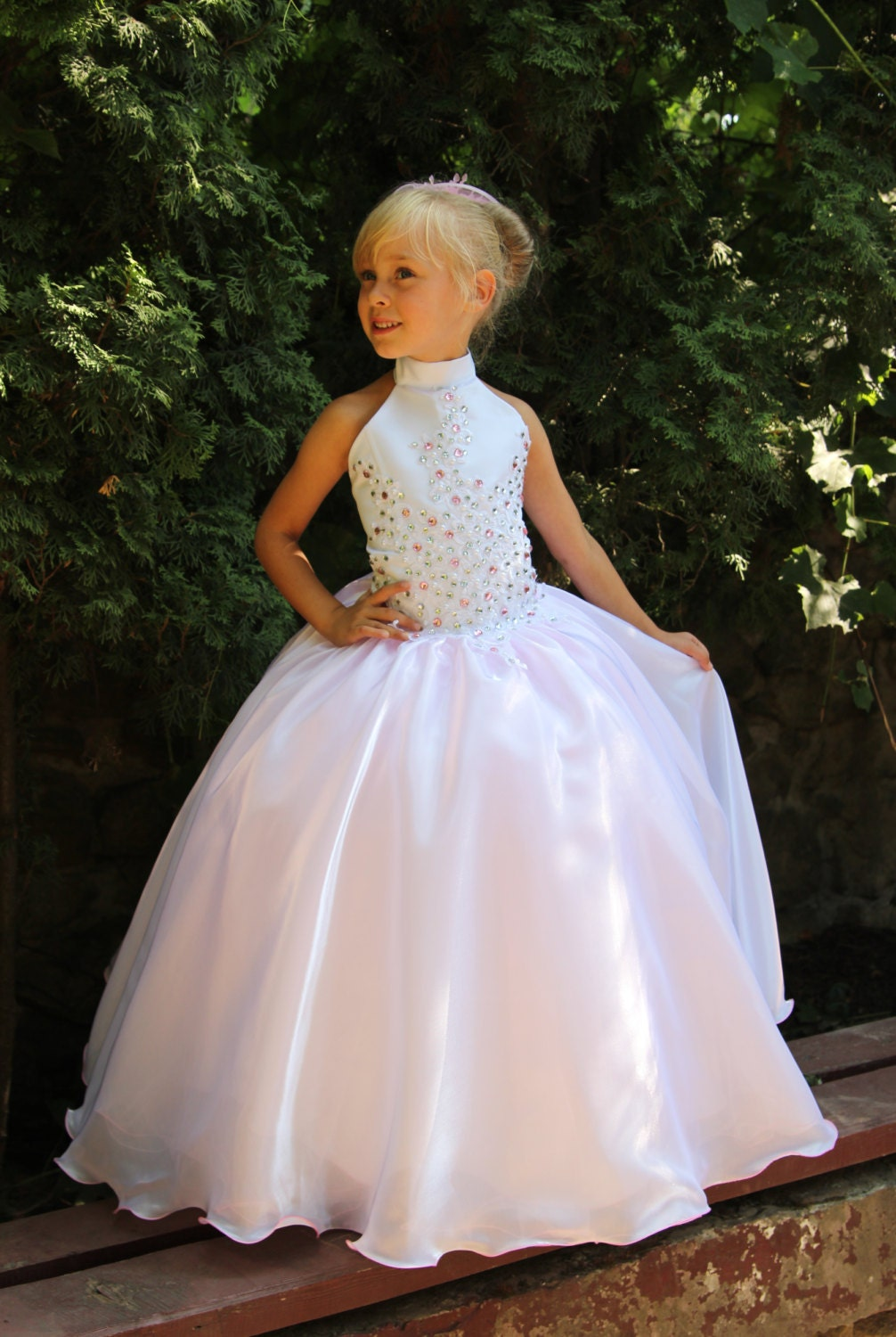 Pink and white flower girls dress birthday wedding party for Flower girls wedding dress