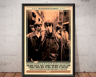 Oasis Poster - Quote Retro Music Poster - Music Print, Wall Art