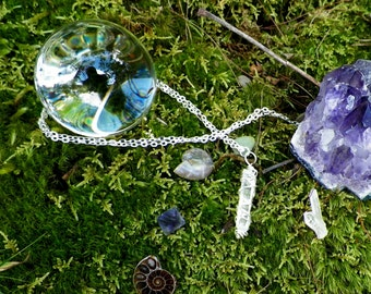Quartz Crystal Necklace with Silver Chain