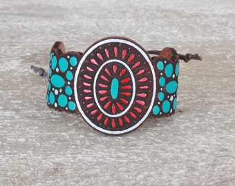 Turquoise Bracelet -  Leather Cuff - Handpainted leather - Bohemian/Gypsy/Hippie