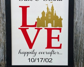 Disney Sign with Frame, Personalized Disney Sign, Personalized Wedding Gift,Disney Sign, Anniversary Gift, Disney, Wedding, Anniversary