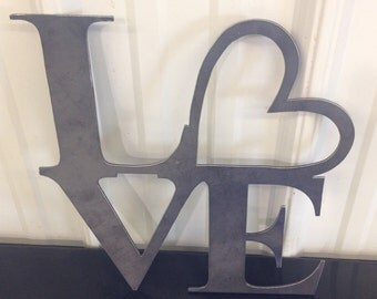 Love With Heart Sign (Home Decor, Wall Art, Metal Art)