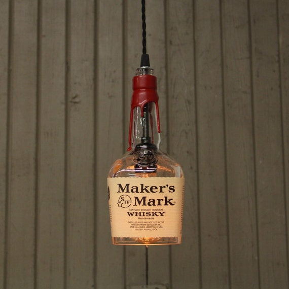 Maker's Mark Bottle Pendant Light - Upcycled Industrial Glass Ceiling Light - Handmade Bourbon Bottle Light Fixture, Recycled Lighting