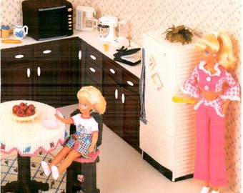 11 designs! Kitchen, plastic canvas fashion doll house furniture pattern fits Barbie, desginers Mary Layfield, Judy Blok, Shirley Kogler.