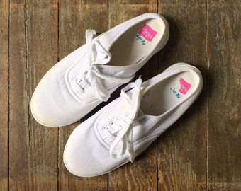 Vintage 90s Hanes Her Way White Fabric Canvas Backless Slip On Lace Up Tie Summer Sneakers 8.5