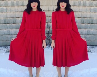 Noelle Dress | vintage long-sleeve belted dress with pleated skirt