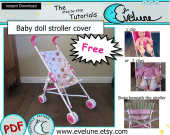 Baby doll stroller cover makeover pattern / replacement baby doll stroller seat / kids stroller re do / Free !! (see the description) !!!