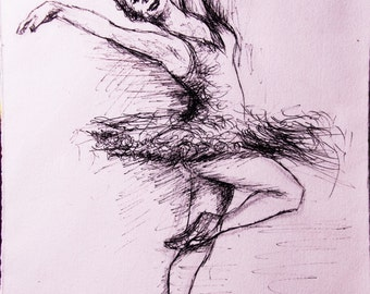 Drawing with a dancer in pen