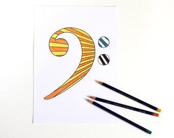 Bass Clef Drawing, Music Art, Stripe Art, Minimalist Poster, Music Poster, Simple Art, Minimalist Drawing, Bass Clef Illustration, Stripes