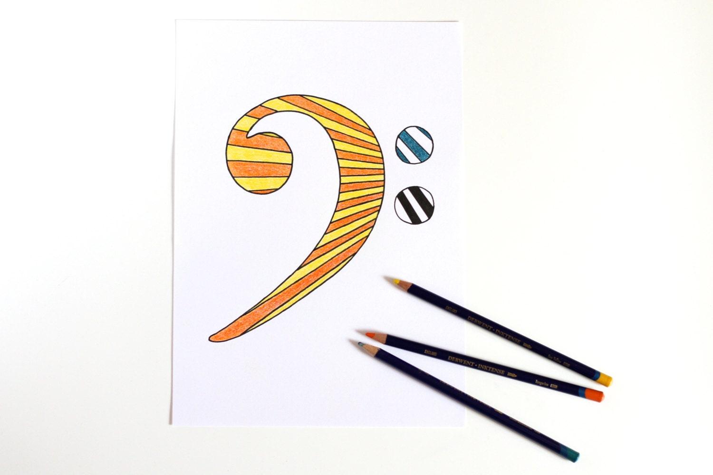 Bass clef drawing music art stripe art minimalist poster for Art minimaliste musique