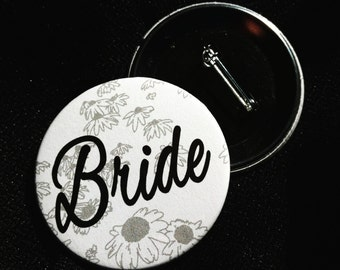 Flowered Bridal Party Pinback Button