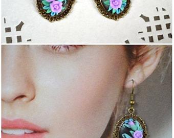 Floral jewellery Romantic earrings Gifts for girlfriend Flower earrings Unique jewelry women Earrings Gift idea Earrings for girls Lilac art