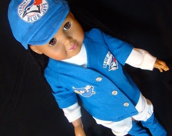 Toronto Blue Jays BaseBall Uniforms for American Girl or Boy Style & Size Doll Clothes, MLB Sports Team's Outfit Custom Made to Order!