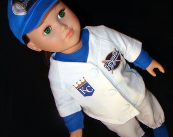 "Kansas City (KC) Royals Base Ball Uniforms - made to fit American Girl or Boy Style 18"" Doll Clothes, Outfit"