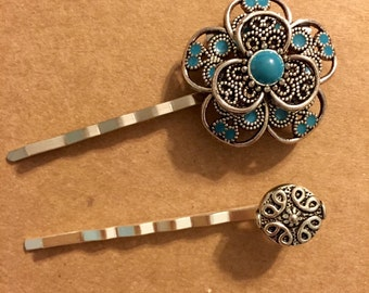 Fall Accessories, Turquoise Hair Bobby Pin, Silver Bobby Pins, Decorative Bobby Pins