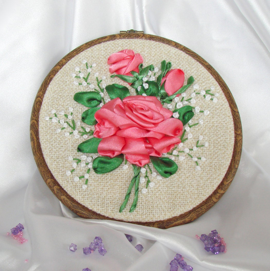 Ribbon embroidery hoop art pink rose by mylittlebigboutique