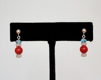 Coral Earrings, Apatite Earrings, Sterling Silver Earrings, Coral Dangle Earrings, Gemstone Earrings, Genuine Coral Earrings, Apatite Dangle