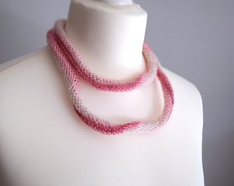 Loop scarf, Soft necklace in pink and cream, skinny scarf, mohair scarf, pink scarf, loop necklace