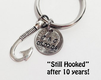 10 Year Anniversary Keychain, Anniversary Gift for Husband, Anniversary Gift for Wife, 10th Year Anniversary, Personalized, 2006 Dime
