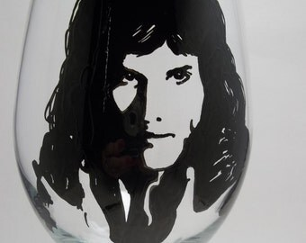 Hand painted glass, Painted wine glass. Freddie Mercury, Queen the Band