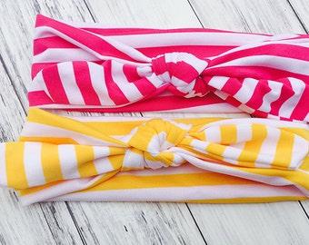 Stripe Knot Headbands - Striped Turban Headbands - Bunny Ears Stripe Headbands - Baby Knotted Headbands, Toddler Knotted Headbands
