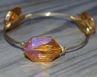Gold Iridescent Bangle, Gold Crystal Bangle, Gold Crystal Bracelet, Crystal Iridescent Bangle, Crystal Bangle, Crystal Bracelet