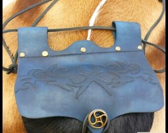 Bag Escarcelle blue tribal - vegetable tanned