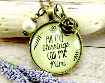 Mimi Grandmother Necklace All My Blessings Call Me Mimi Pendant Antique Shabby Style Gift For Grandma Pearl, Rose Charm Gift for Mimi