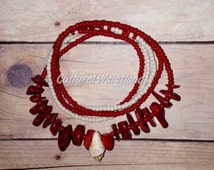 Waist Beads | Belly Beads | African Inspired | Belly Chains | Shells | Red, Cream,
