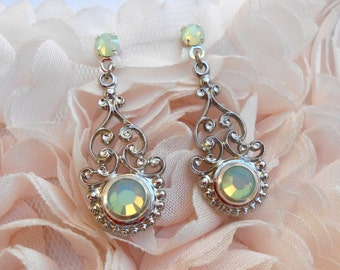 Delicate earrings studs Retro Vintage Prints perforated Green Pacific Opal Swarovski Crystal and Metal
