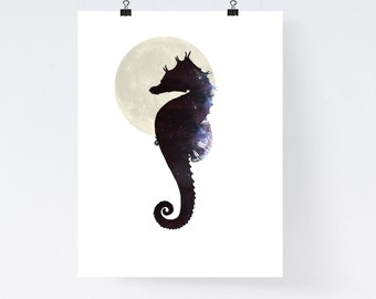 Seahorse wall art, nautical art print, poster, galaxy wall art, home wall decor, galaxy illustration, apartment art, animal print,simple