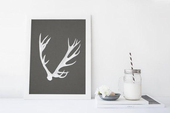 Deer Antler Print Antler Art Modern Art Print By