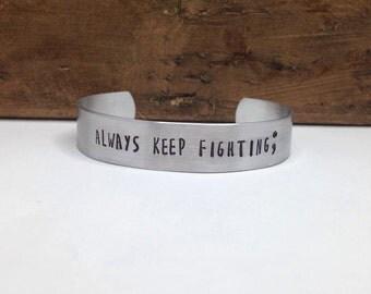 Semicolon bracelet custom hand stamped bracelet cuff - you pick saying - personalized bracelet - custom bracelet - engraved bracelet