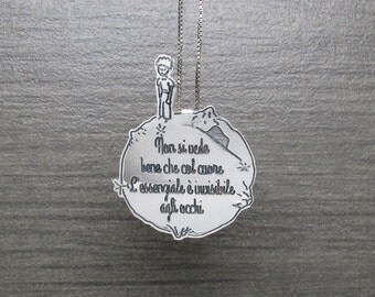 The little prince pendant with engraved quote