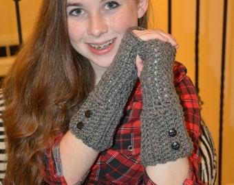 Gray Button Accent Fingerless Gloves