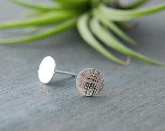 Sterling Silver Cross Hatched Earrings, Silver Circle Earrings, Textured Circle Earrings, Small Circle Studs,