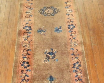 Antique Chinese Peking Art Deco Rug Runner Size 2'3''x8'9''