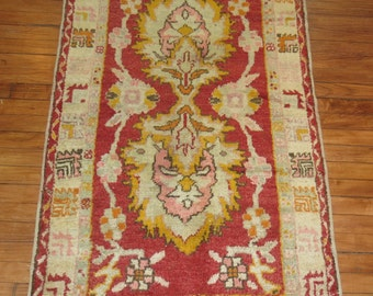 Vintage Turkish Oushak Rug With Pink Highlights Size 2'10''x5'
