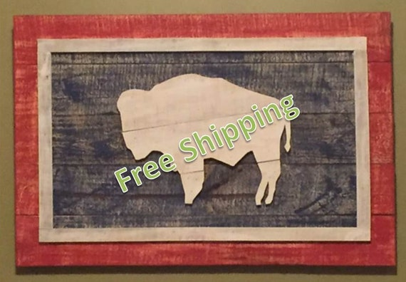Rustic Wyoming Flag Constructed From Reclaimed/Repurposed Wood (Free Shipping)
