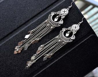 Long Earrings, Bohemian Earrings, Tribal Earrings, Long Chandelier Earrings, Long Silver Earrings, Long Boho Earrings, Tassel (E329)