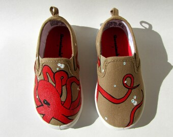 Hand Painted Octopus Kid's Shoes - Size 7