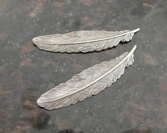 2 pcs Small Feather Stampings 55x12mm, Bird Feather Charm, Silver Feather Finding, Quill Feather, Brass Stamping, Bohemian Charm