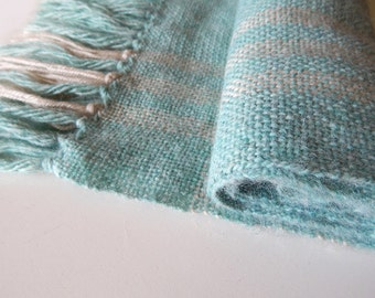 Handwoven scarf, womans woven scarf, mint scarf, menthol scarf, green scarf, angora wrap scarf, womens wrap, winter scarf, handwoven wrap