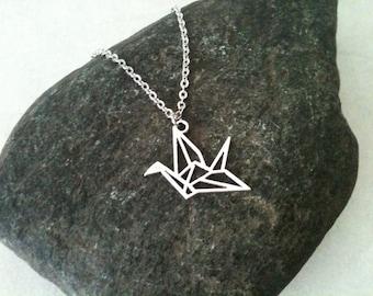 Origami bird necklace, stainless steel chain, gift idea, gift under 10, minimalist jewelry, feminine jewelry, cute necklace